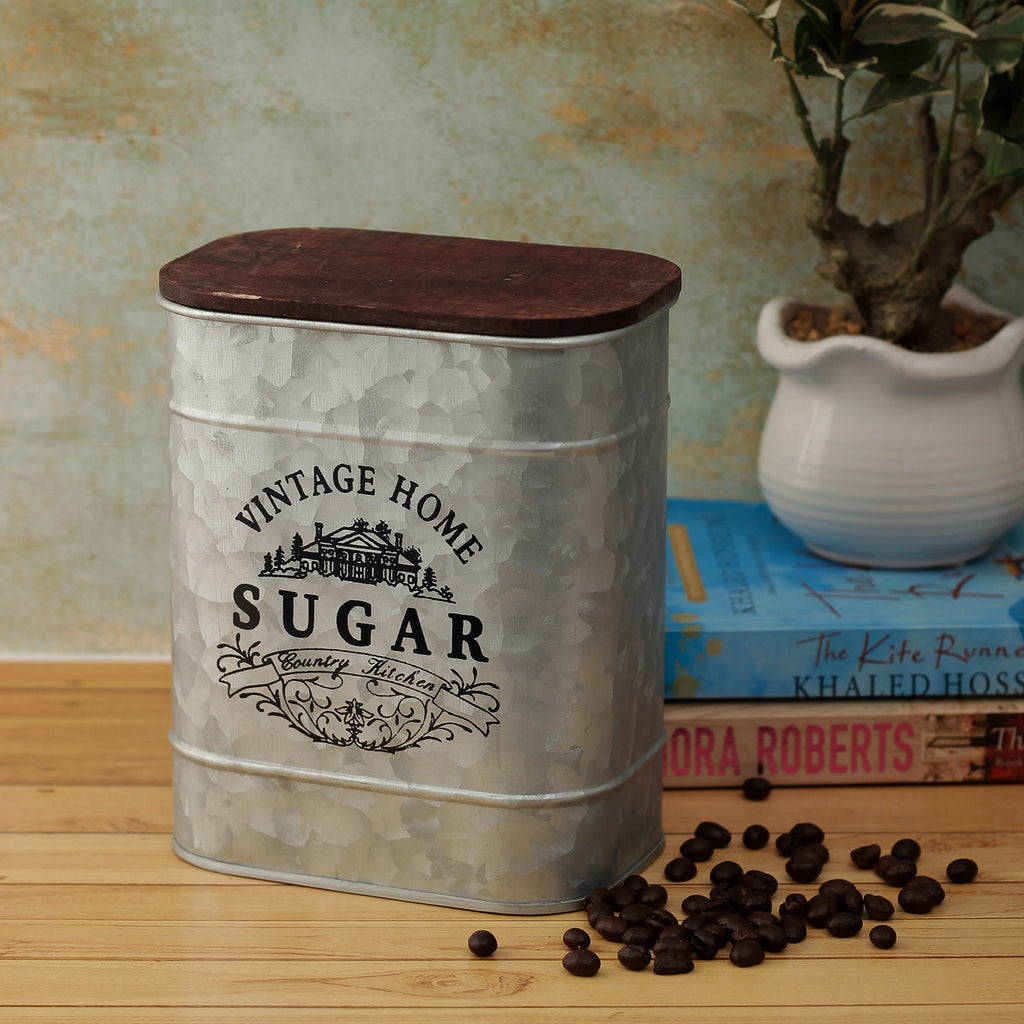 Vintage Home Sugar Storage Metal Box