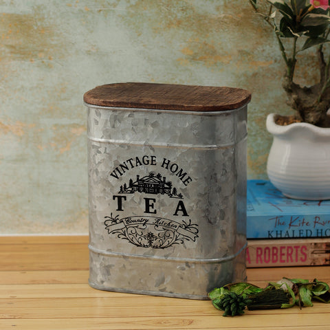 Vintage Home Tea Storage Metal Box