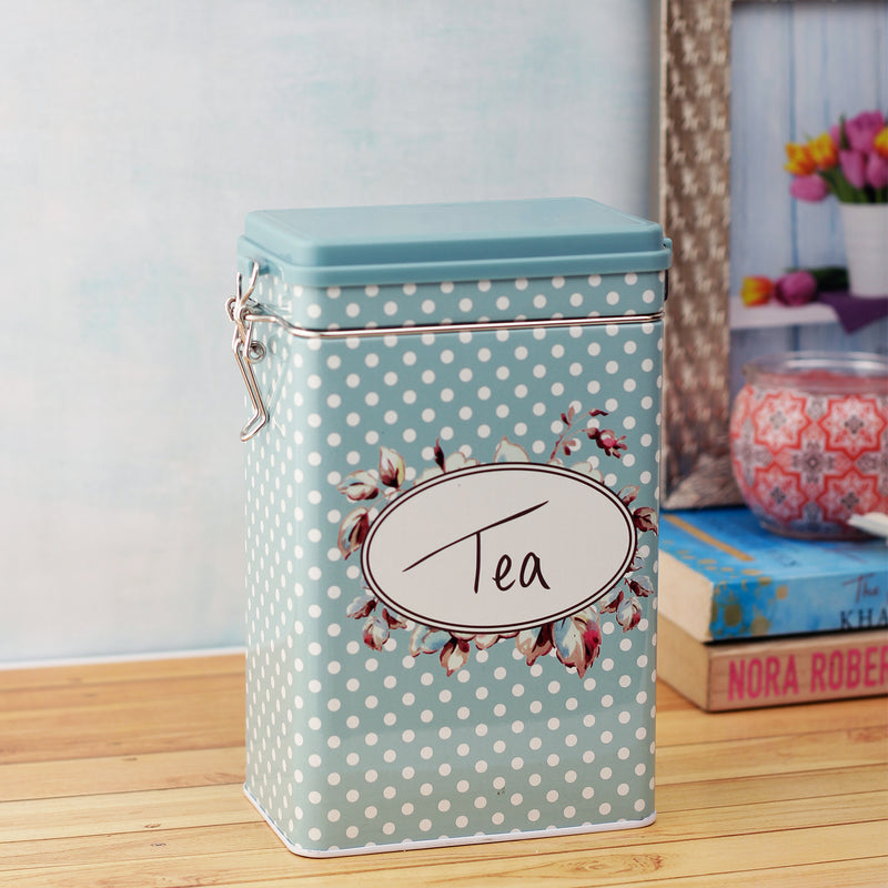 Blue Dotted Tea Storage Box with Hinged Lid