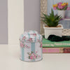 Floral Striped Metal Tin Canister