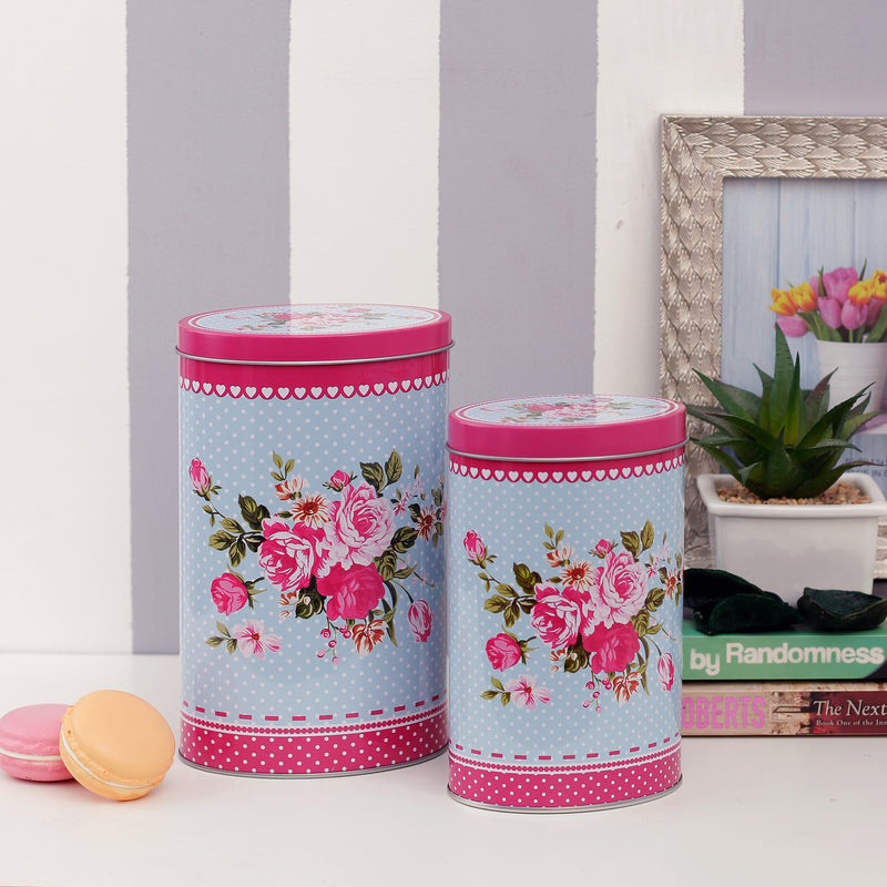 Blue and Pink Floral Canisters (Set of 2)
