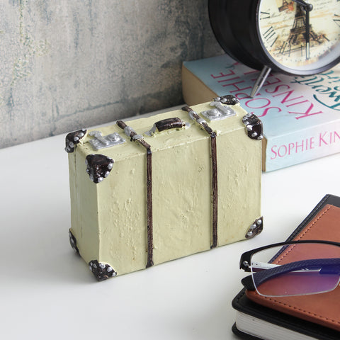 Vintage Briefcase Tabletop Accent- Offwhite