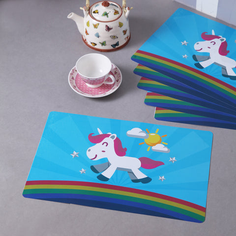 Blue Happy Unicorn table mats (set of 6)