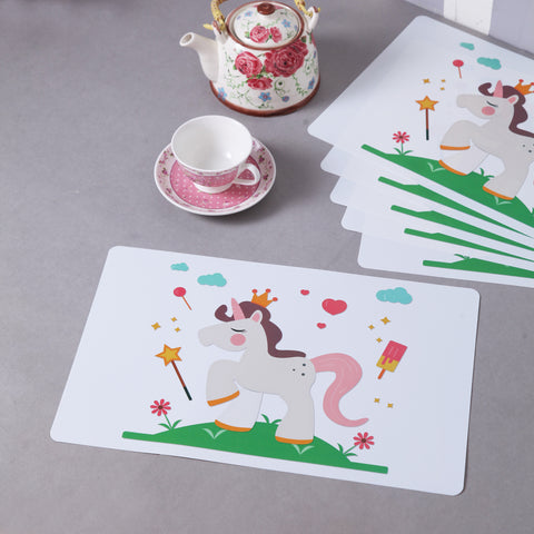 White Magical Unicorn Table Mats (Set Of 6)