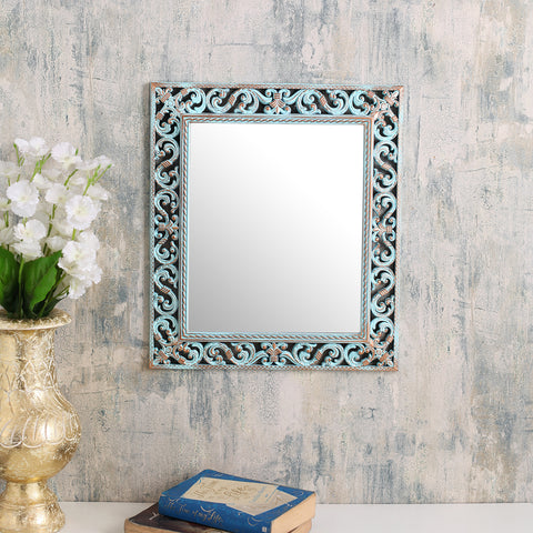 Large Rectangle  Vintage blue border mirror