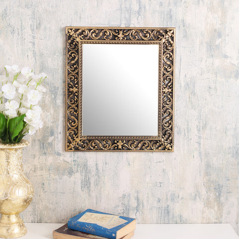 Large Rectangle Vintage Copper Border Mirror