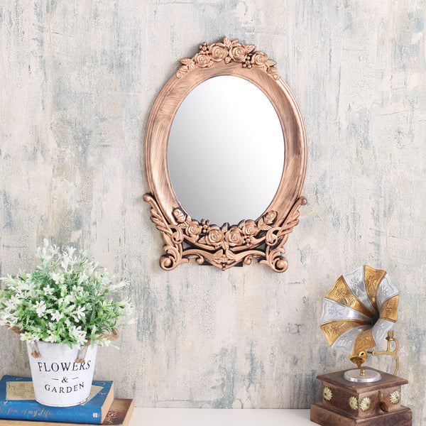Long Copper Floral Base Mirror