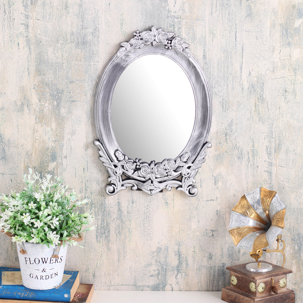 Long Silver Floral Base Mirror