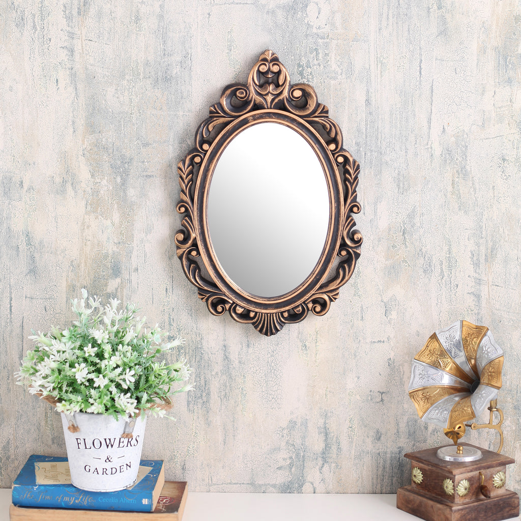 Copper Oval Abstract Border Mirror