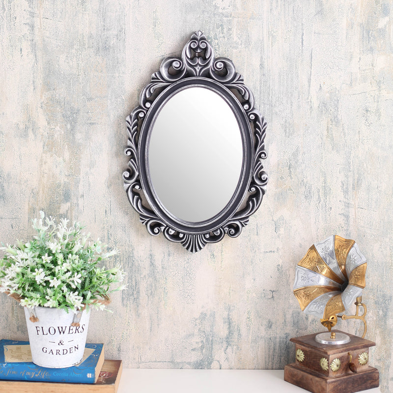 Silver Oval Abstract Border Mirror