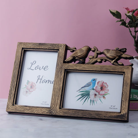 Love Birds 2-Picture Photo Frame - Copper