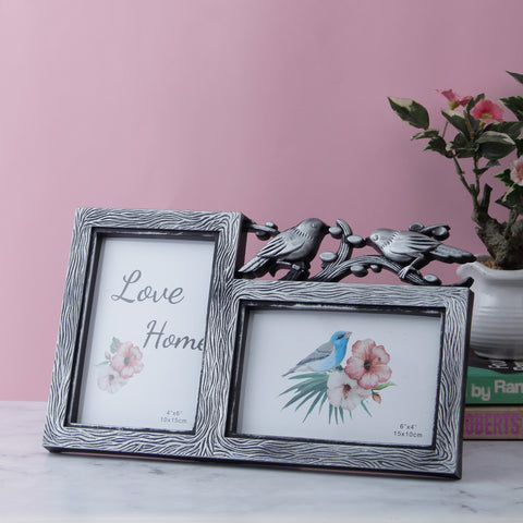 Love Birds 2-Picture Photo Frame - Silver