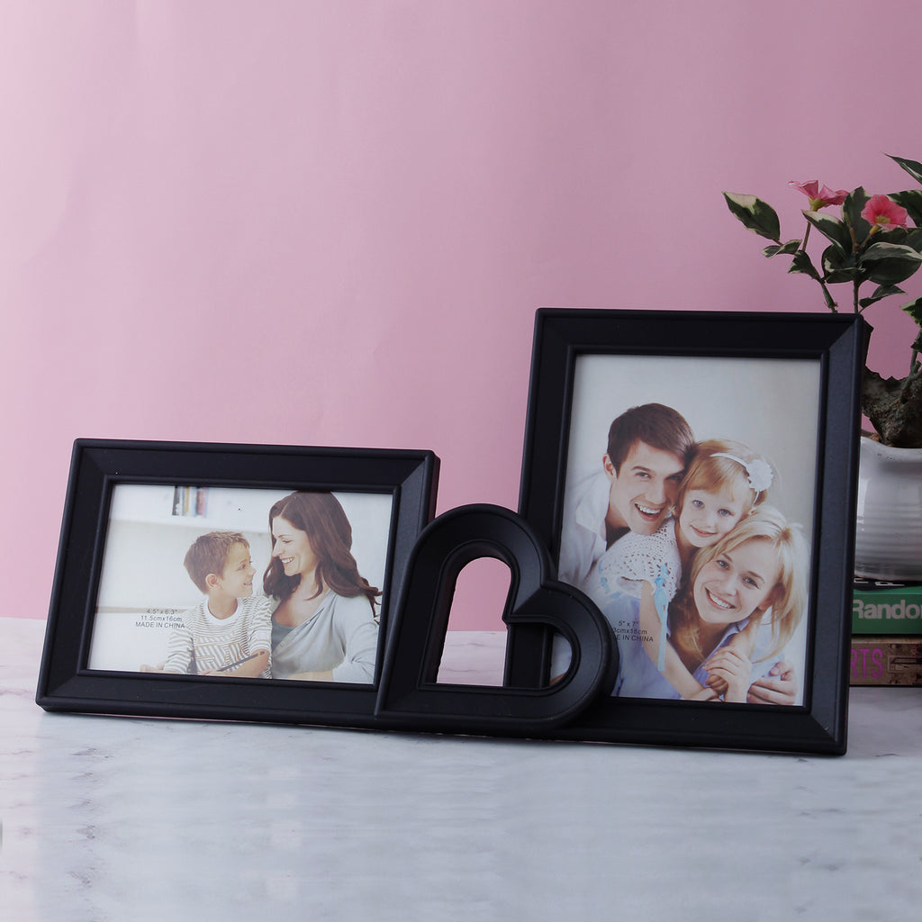 Black Heart 2-Picture Photo Frame