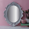 Antique Oval Decorative Mirror Tray - Silver