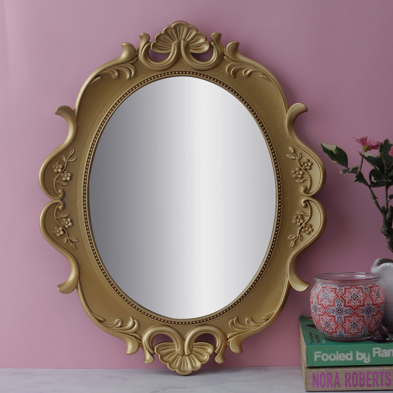 Antique Oval Decorative Mirror Tray - Gold