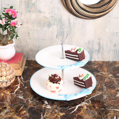 Cute Blue Bow 2-Tier Cake Stand