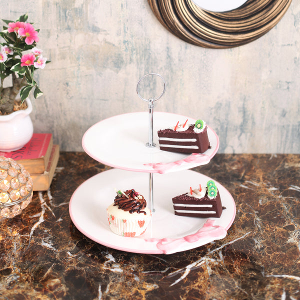 Cute Pink Bow 2- Tier Cake Stand