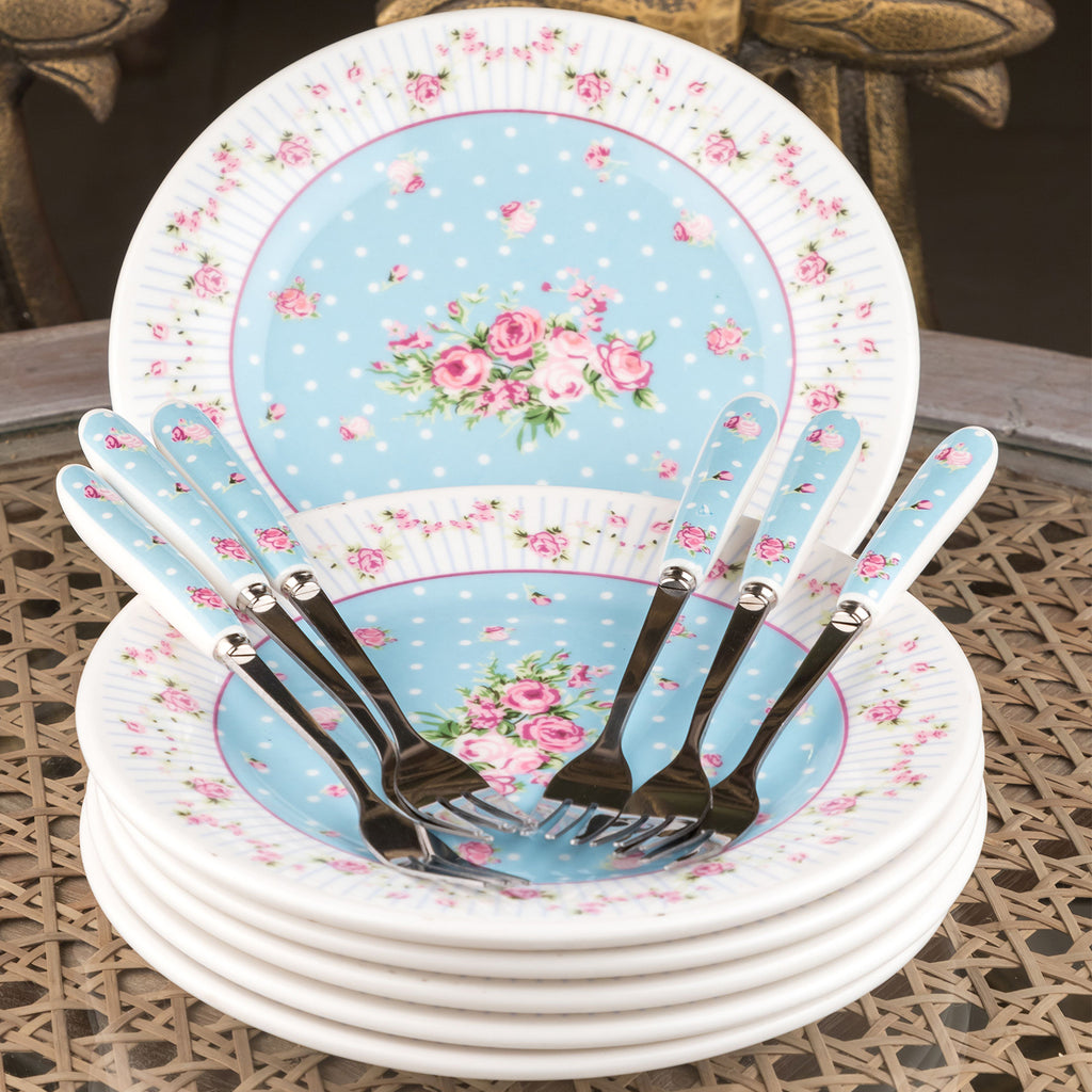 Blue Plate And Fork Set (Set Of 6)