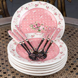 Pink Plate And Fork Set (Set Of 6)