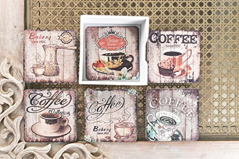 Large Coffee Design Coasters (Set Of 6)