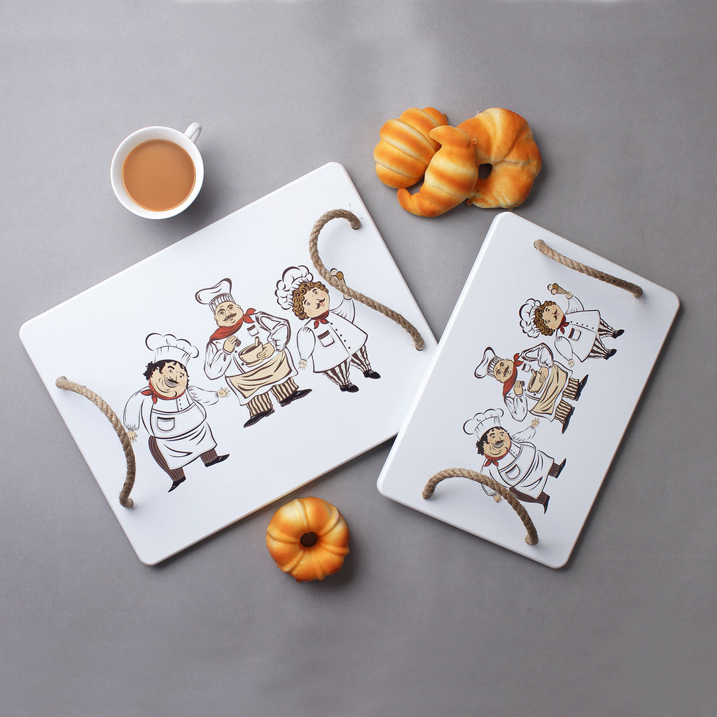 Large Cute Chef Serving Trays (Set Of 2)