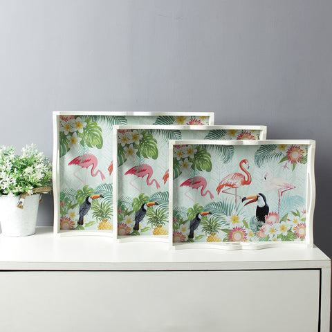 Large Jungle Flamingo Serving Trays (Set Of 3)