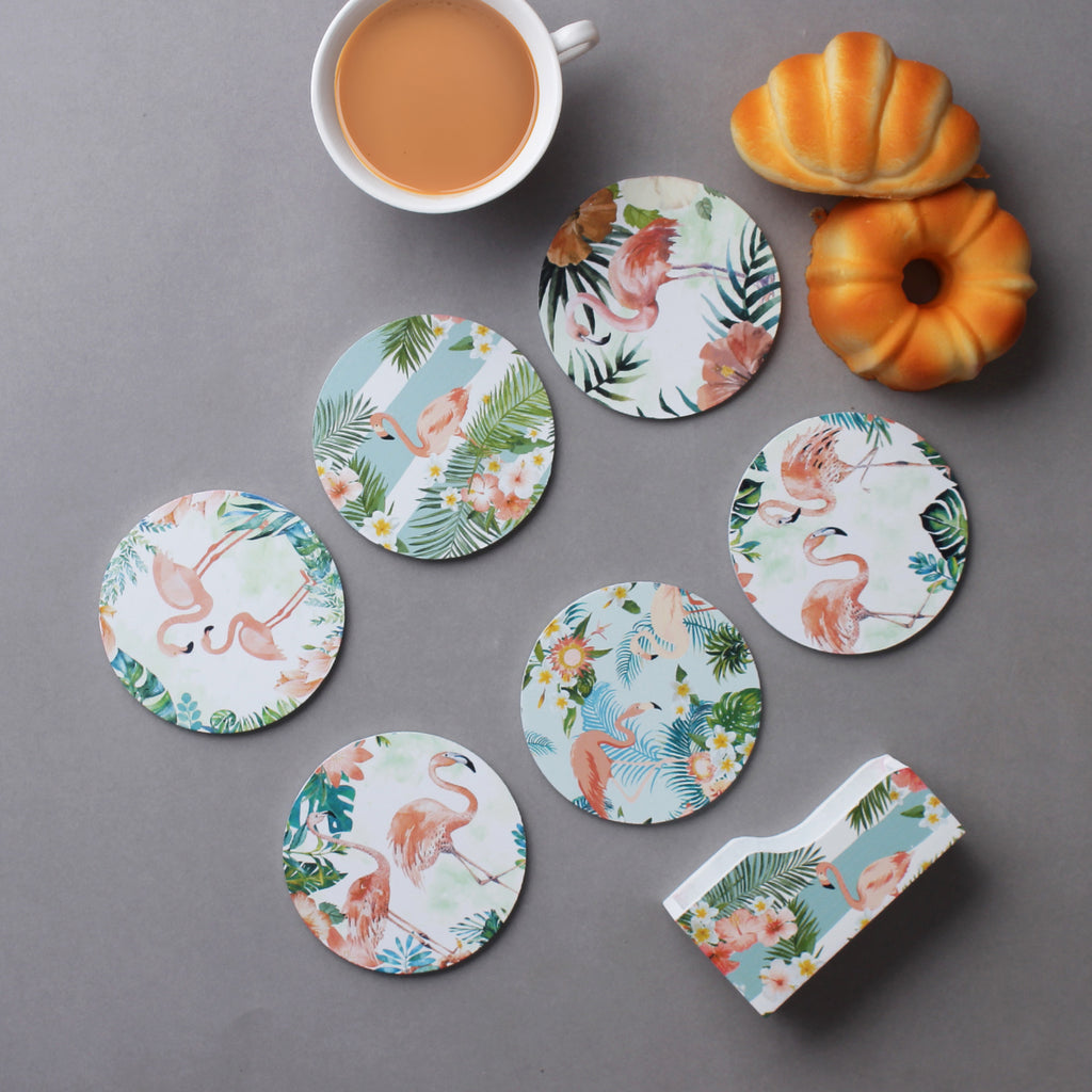 Beautiful Flamingo Coasters - Set Of 6