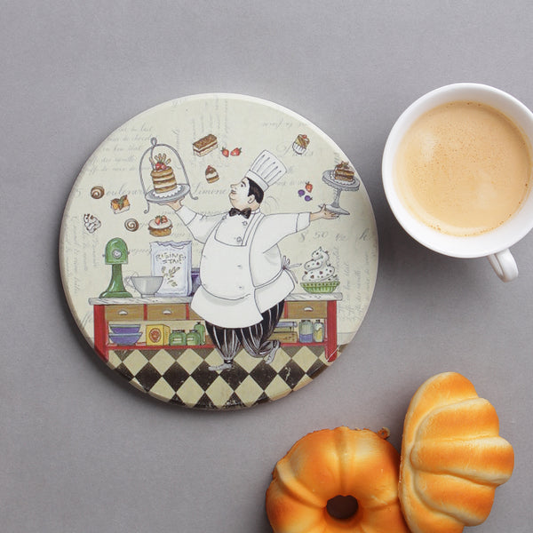 Large Round Cute Chef Hotplate/ Trivet