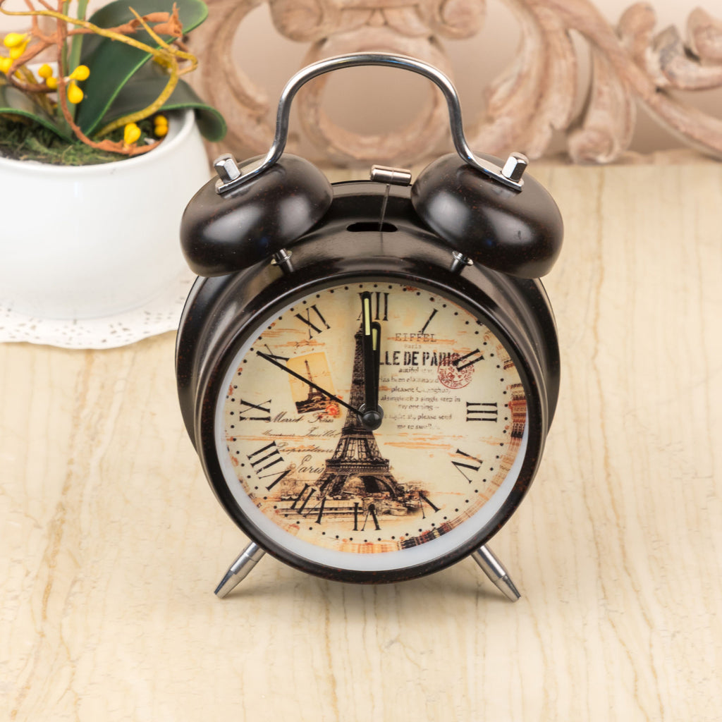 Black Vintage Paris Table Clock