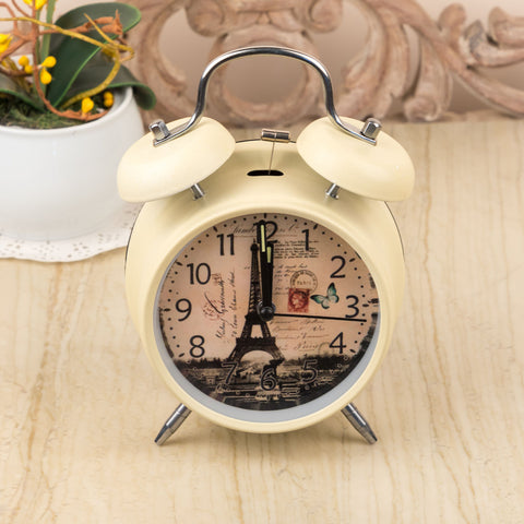 White Vintage Paris Table Clock