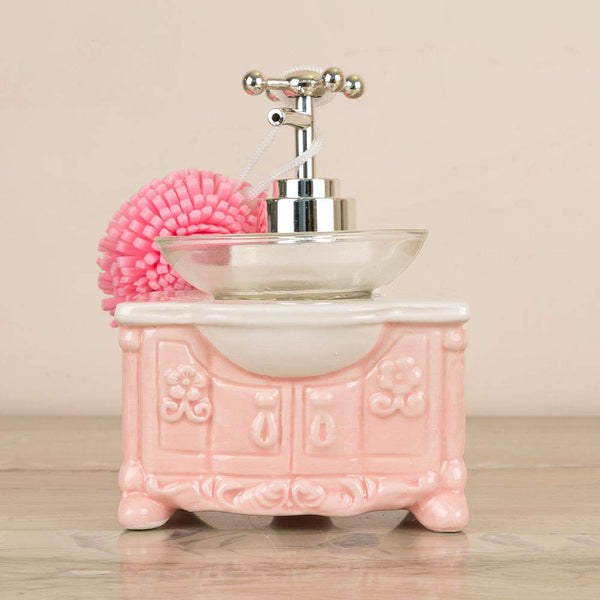 Pink Soap Dispenser With  Sponge