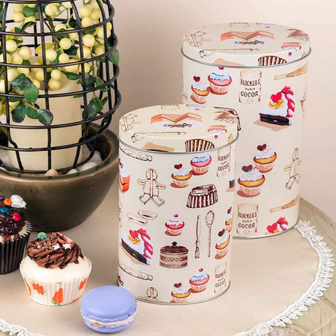 Long Dessert Design Metal Storage Storage Tins (Set Of 2)