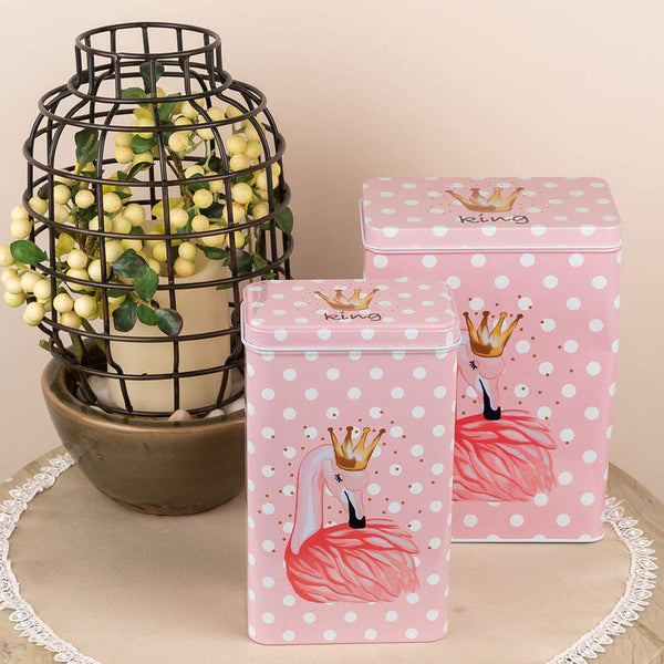Flamingo Design Tall Metal Tins (Set Of 2)