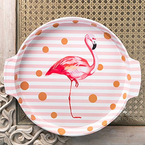 White Stripes Flamingo Metal Tin Tray