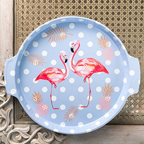 Blue Polka Dot Flamingo Metal Tin Tray