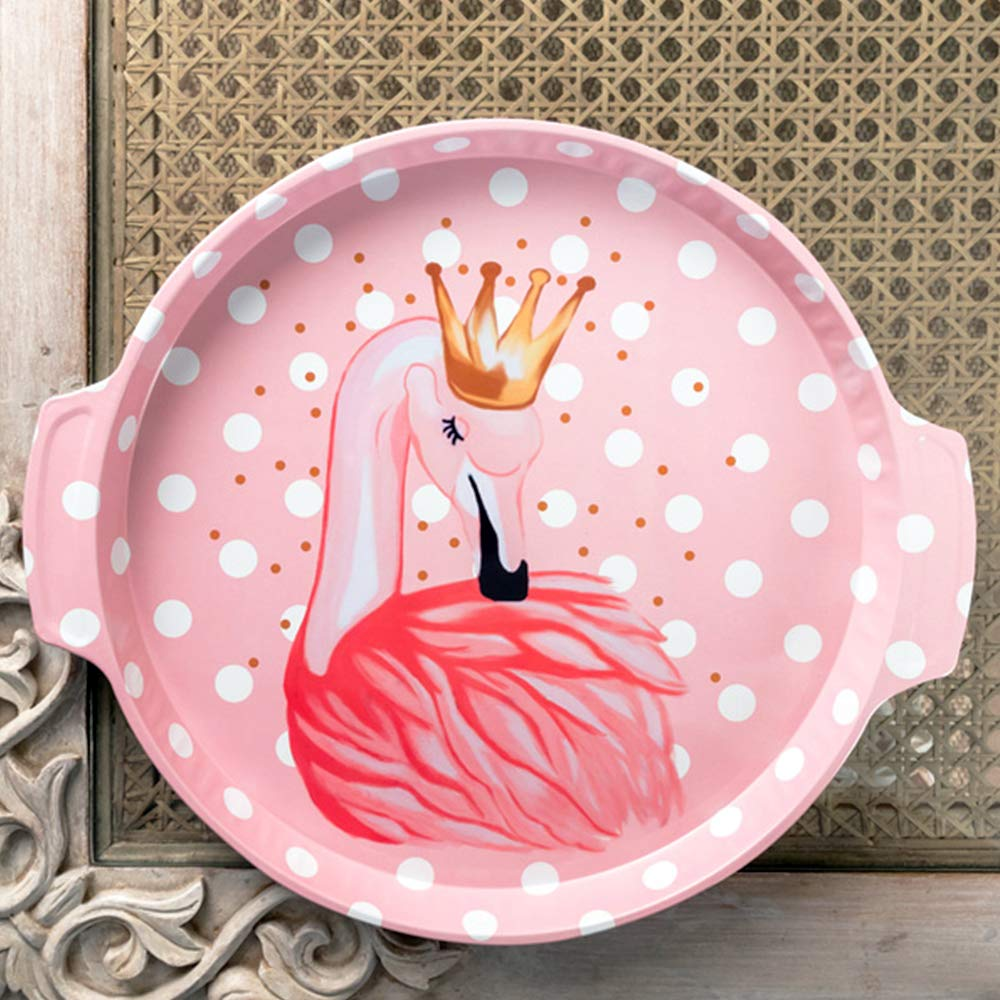 Pink Polka Dot Flamingo Metal Tin Tray