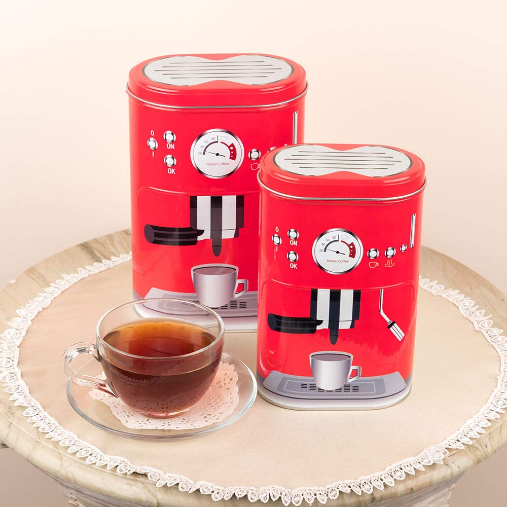 Red Coffee Machine Design Storage Metal Tins (Set Of 2)