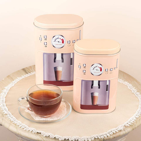 Beige Coffee Machine Design Storage Metal Tins (Set Of 2)