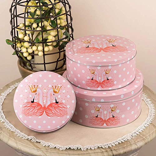 Round Flamingo Storage Metal Tins (Set Of 3)