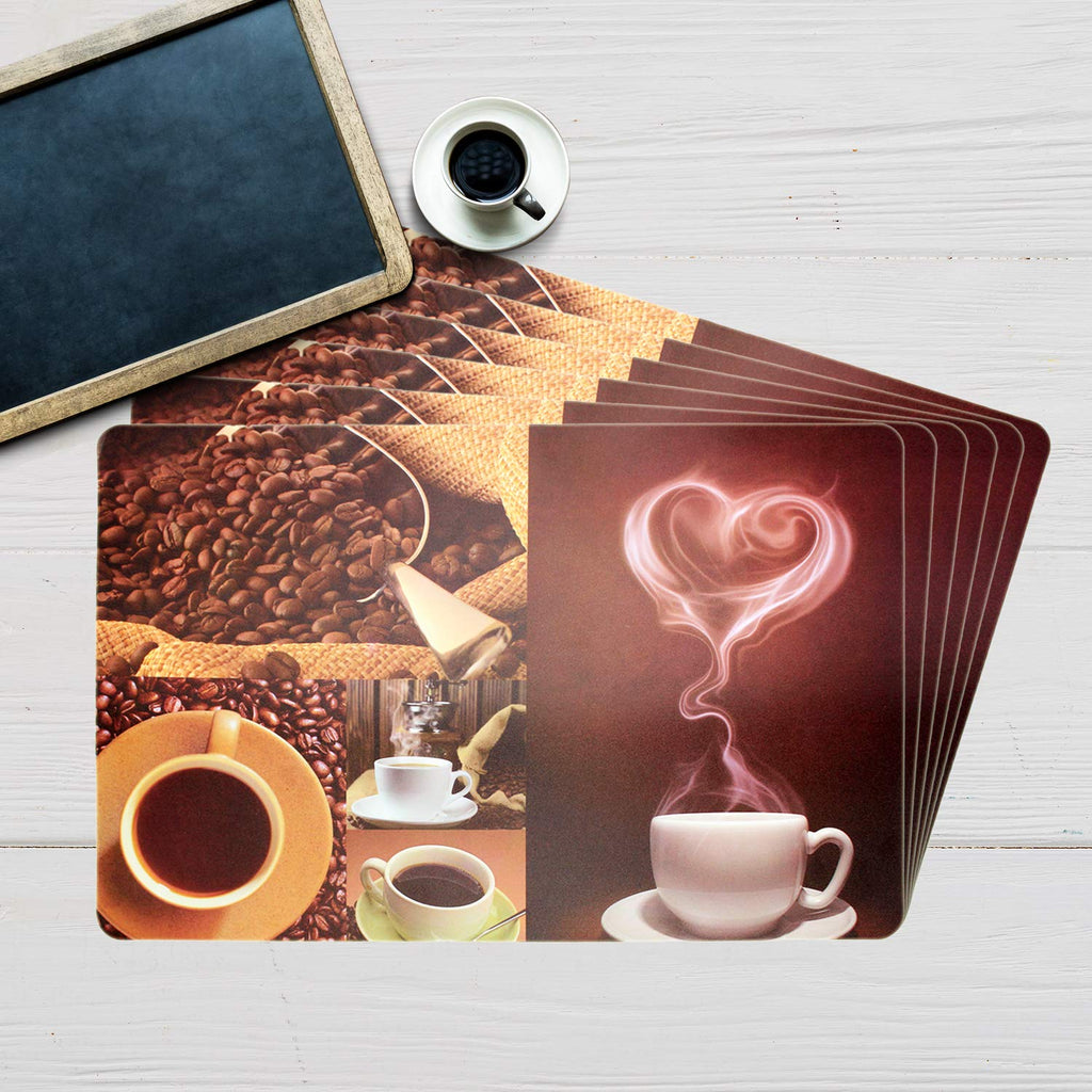Coffee Heart Table Mat Set (Set Of 6)