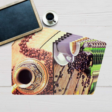 Coffee Spoons Design Table Mat Set (Set Of 6)