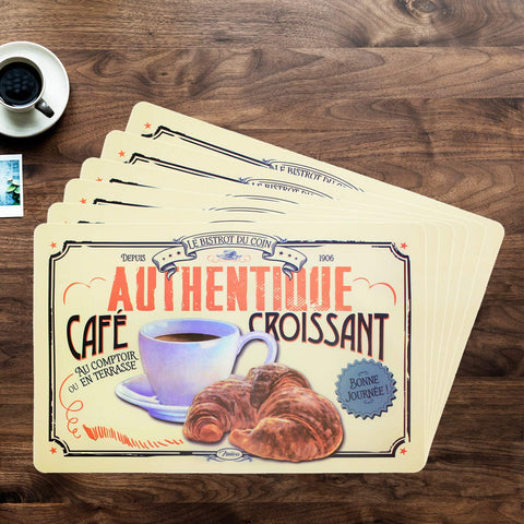 Coffee And Croissant Design Table Mat Set (Set Of 6)