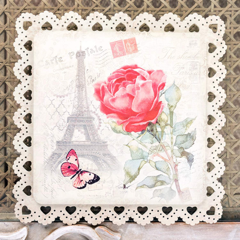 Red Rose With Eiffel Tower Square Trivet