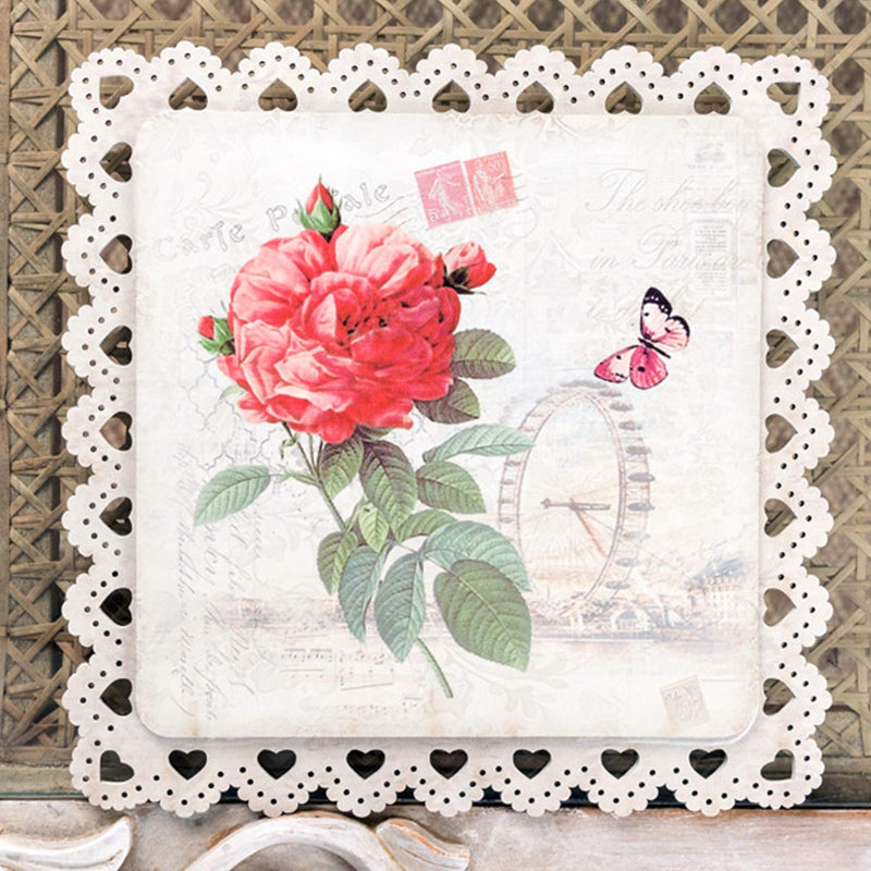 Red Rose With London Eye Square Trivet