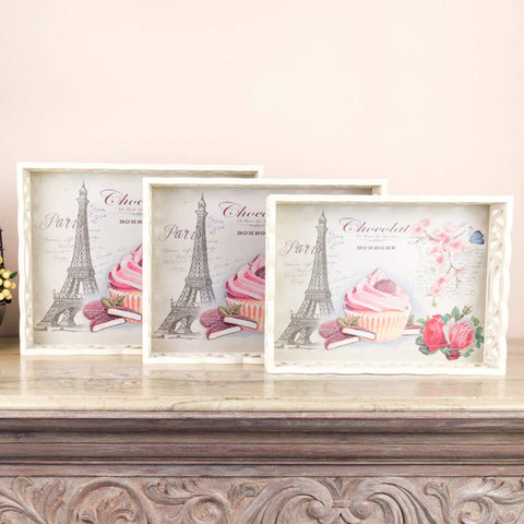 Cupcake Paris Tray Set (Set Of 3)