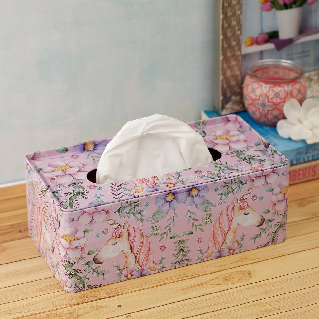 Unicorn and Ferns Tissue Box