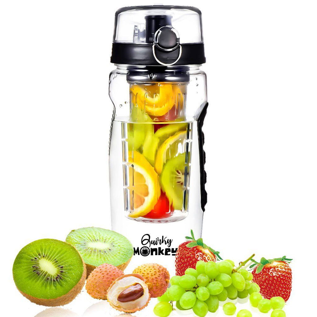 Quirky Monkey Fruit Infuser Black Water Bottle - 1 Litre, Cleaning Brush, Insulated Sleeve with Free 101 Infused Water Recipes