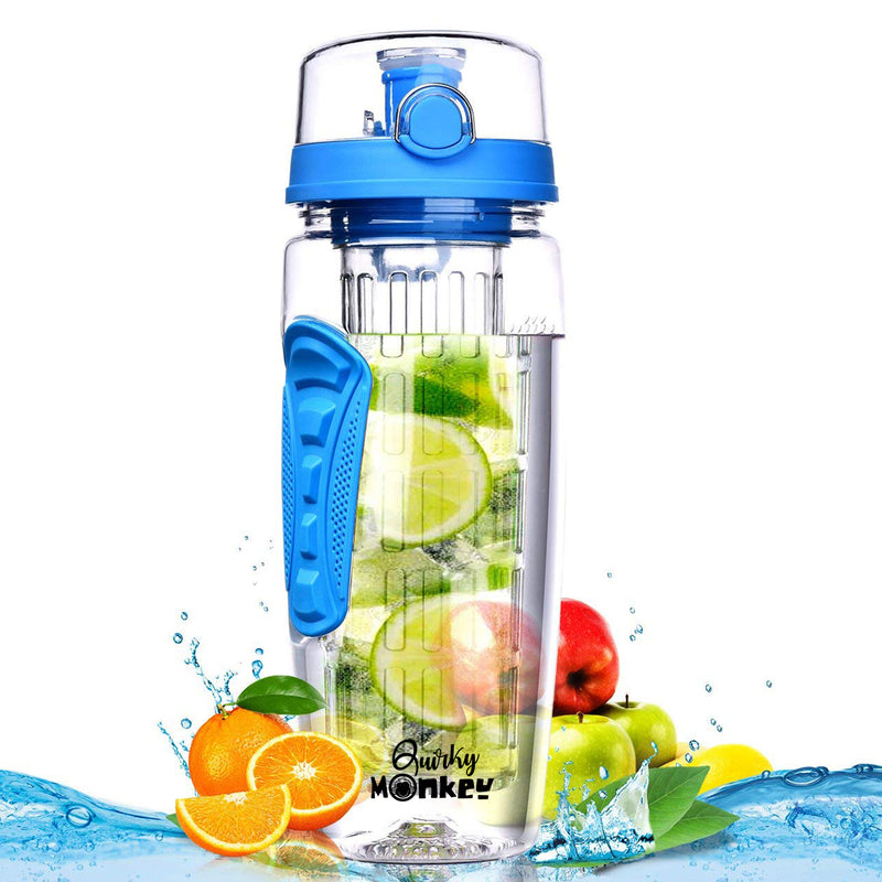 Quirky Monkey Fruit Infuser Blue Water Bottle - 1 Litre, Cleaning Brush, Insulated Sleeve with Free 101 Infused Water Recipes