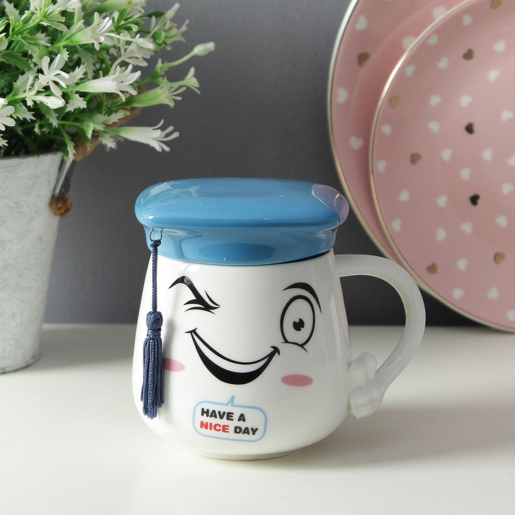 Graduation Cap Lid Mug - Blue