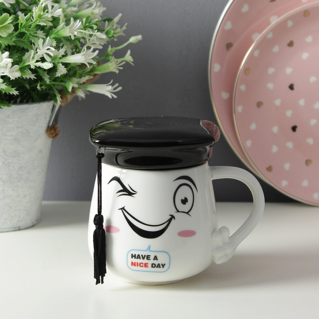 Graduation Cap Lid Mug - Black